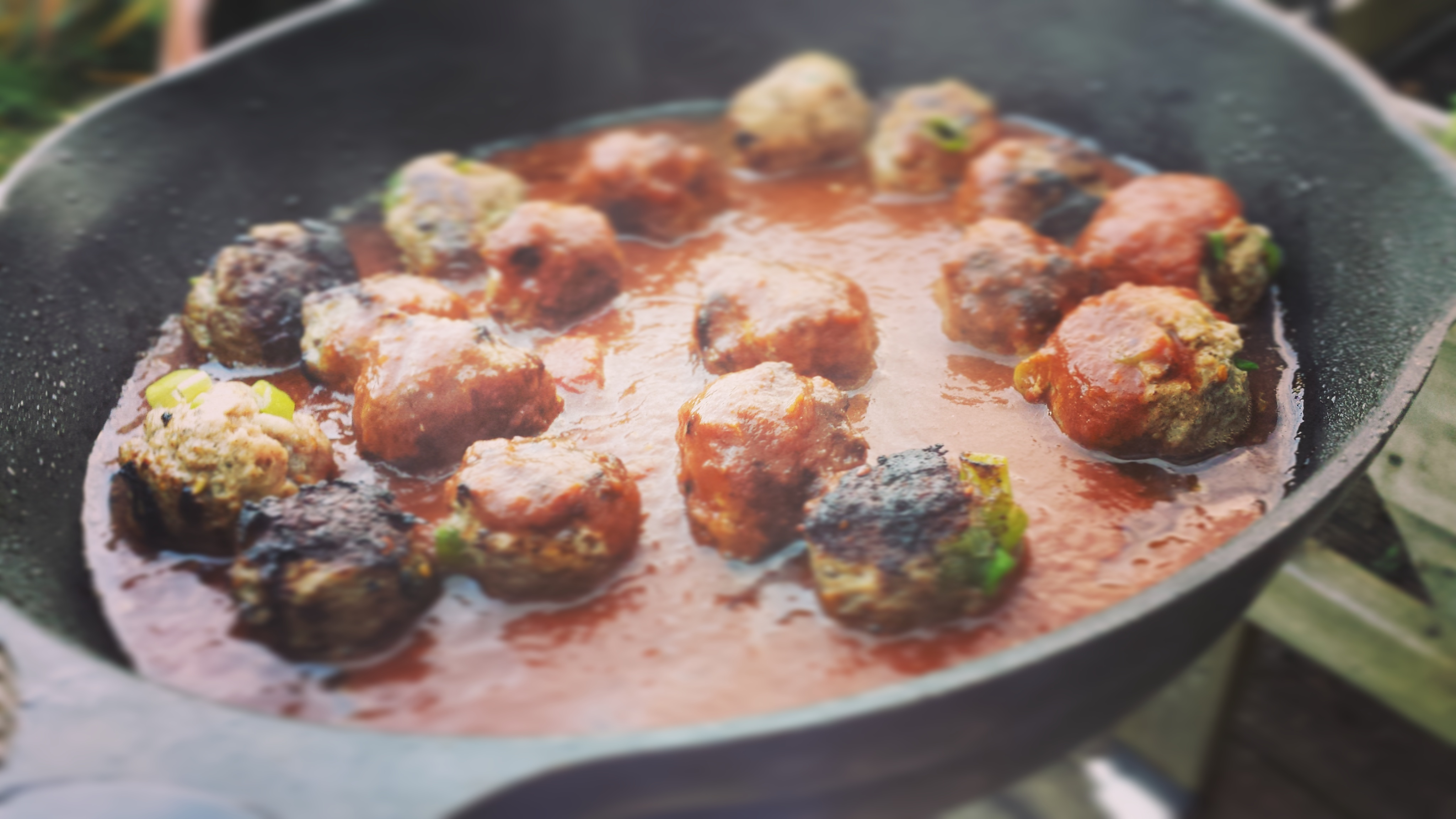 Za'atar and Lemon Meatballs In Red Wine Tomato Sauce
