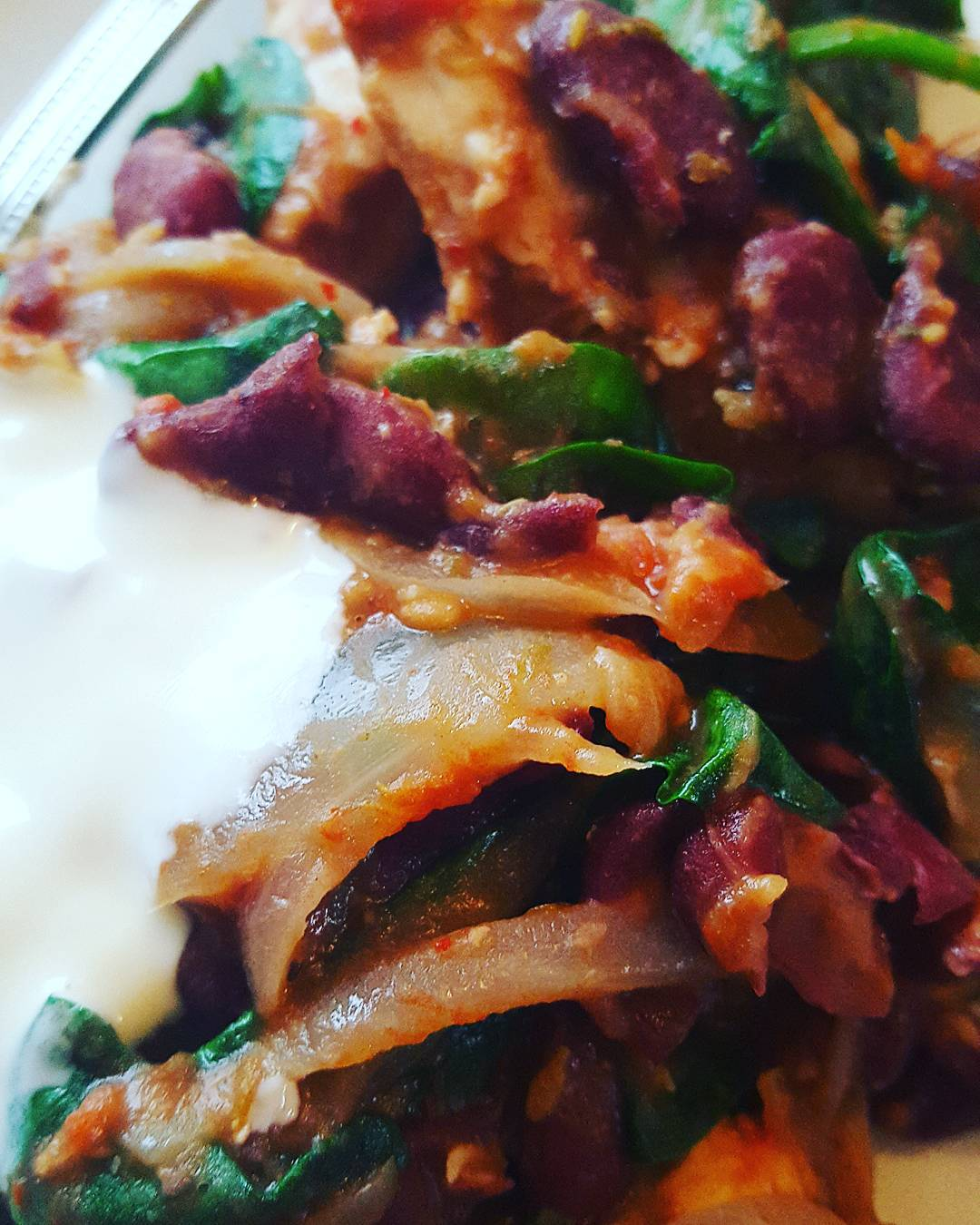 Chicken, Kidney Beans and Spinach Stew