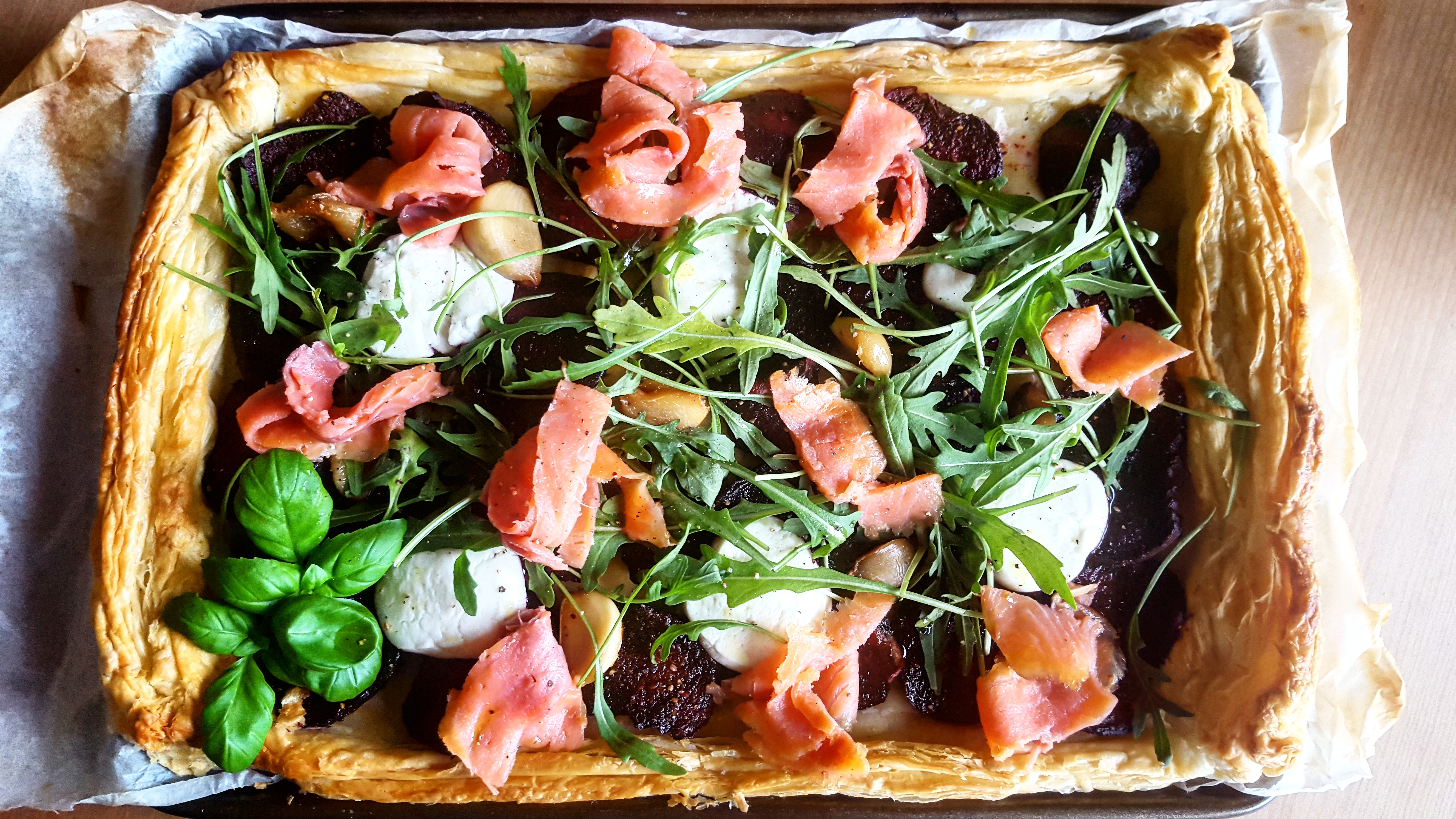 Spiced Beetroots, Goat Cheese and Smoked Trout Tart