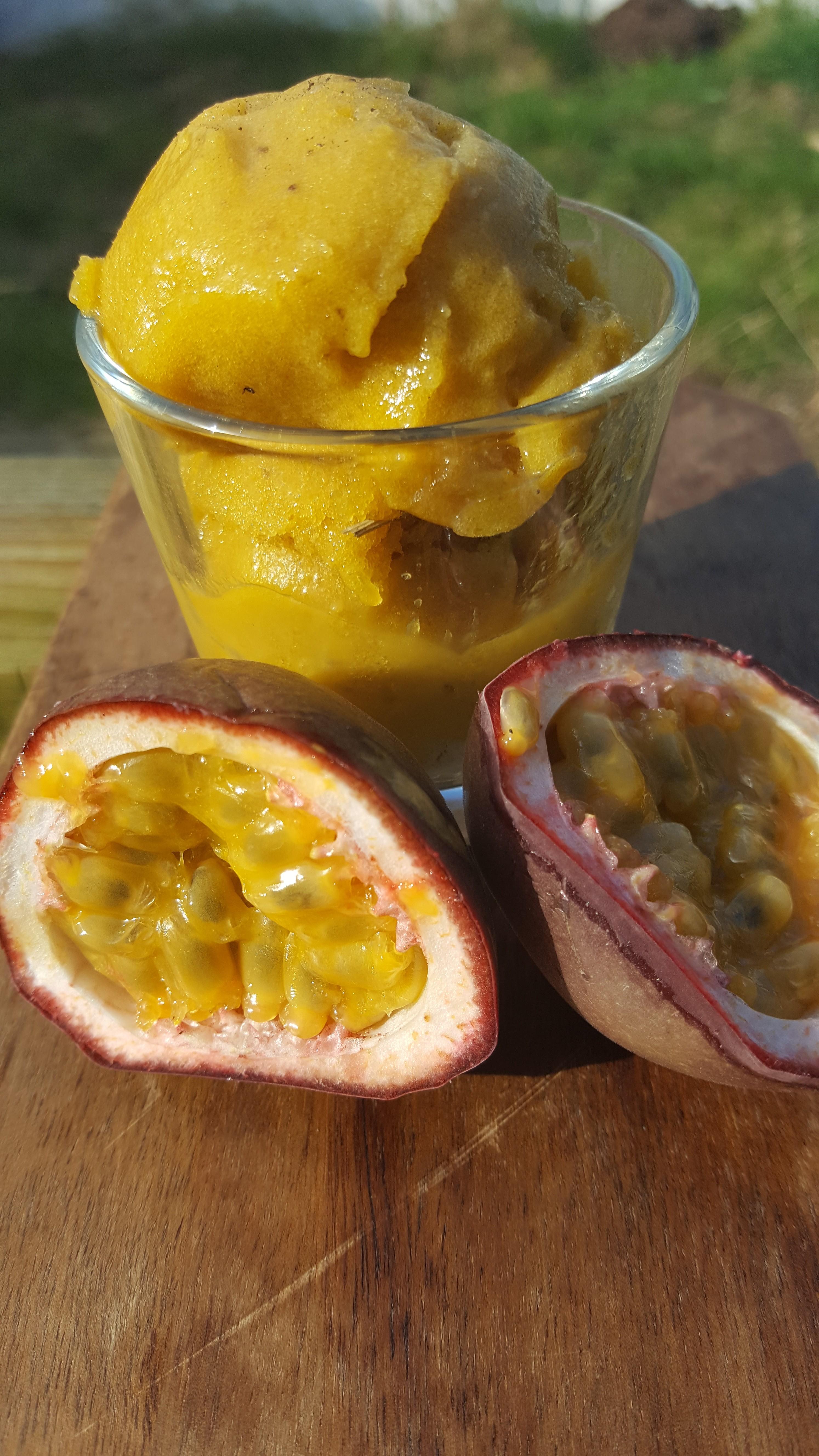 No Churn Mango and Banana Ice Cream