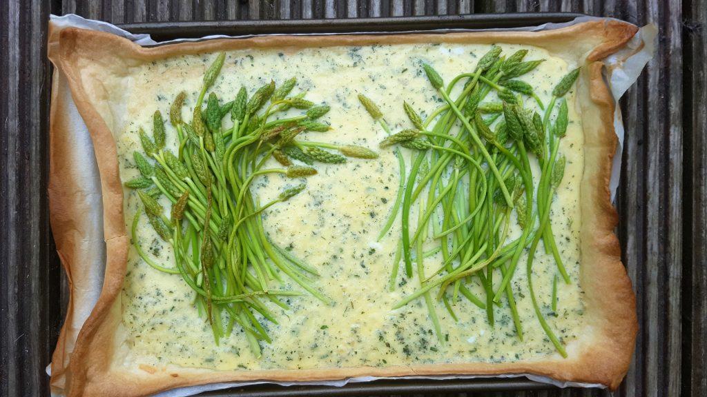 Wild asparagus and aged cheddar tart