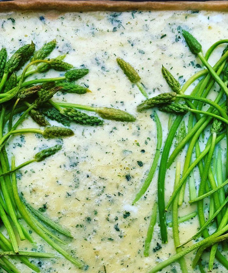 Wild asparagus tart