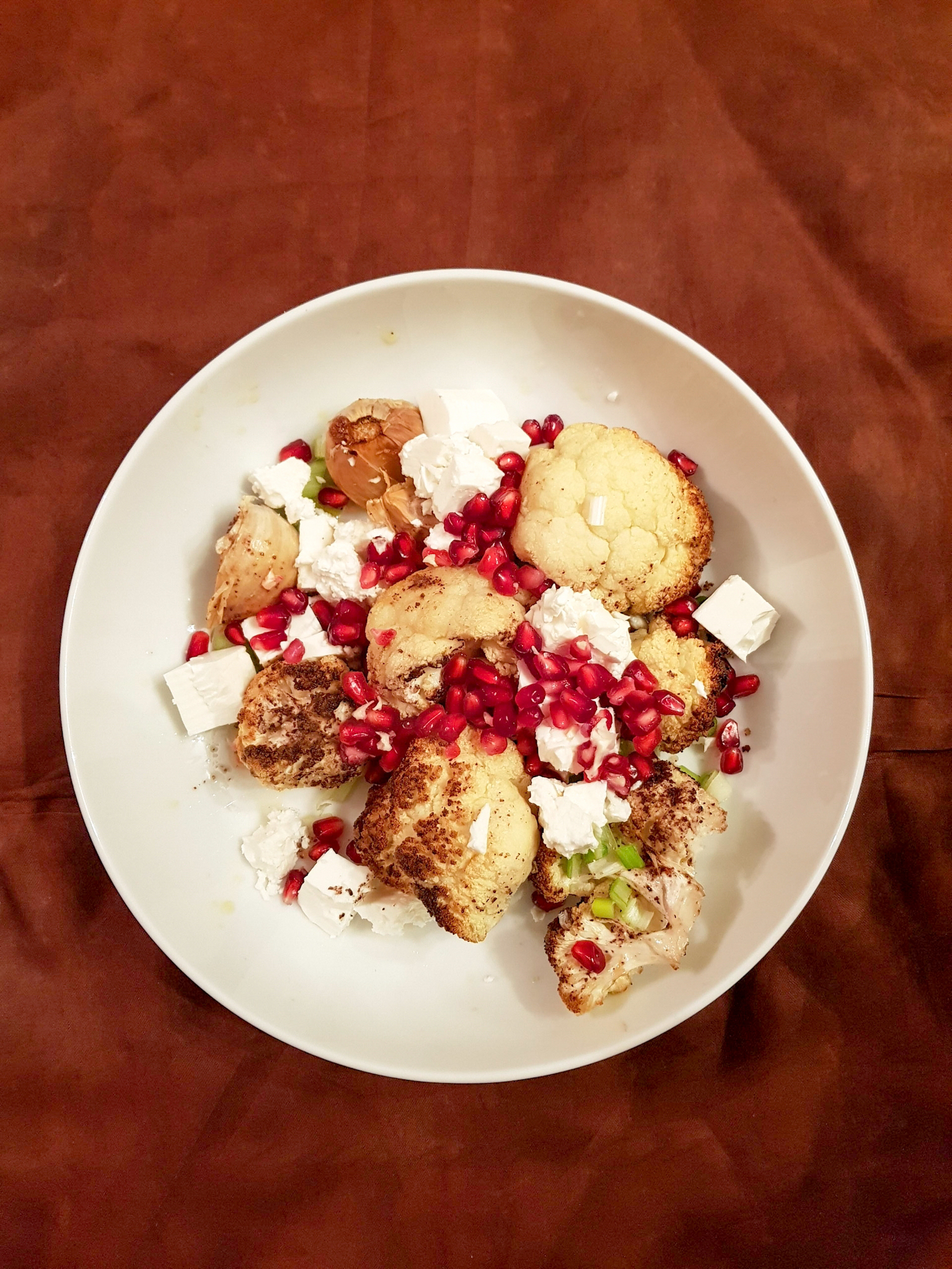 Spiced Roasted Cauliflower With Feta And Pomegranate