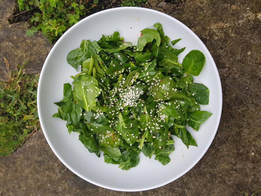 Quick Korean Style Spinach Salad