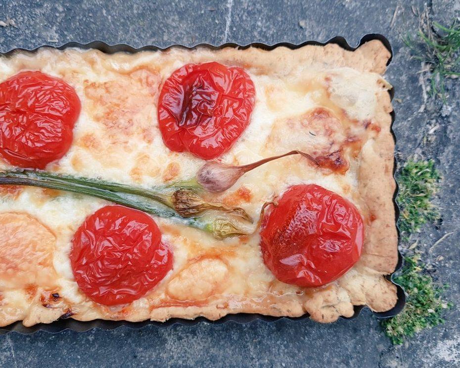 Drummond House Garlic Scapes, Tomato and Taleggio Tart Recipe
