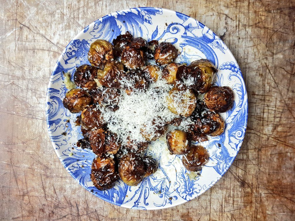 Roasted Brussel Sprouts With Drummond House Smoked Garlic