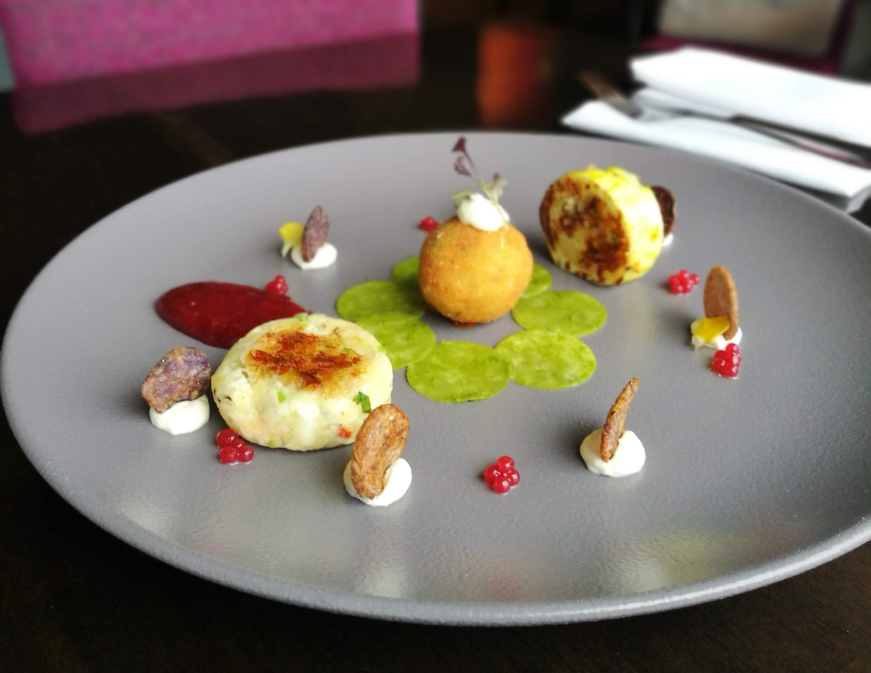 St. TOLA GOAT'S CHEESE TIKKI WITH PLUM CHUTNEY BY KARAN MITTAL
