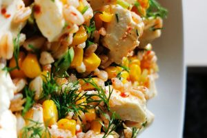 WARM SPELT, SWEETCORN AND FETA SALAD