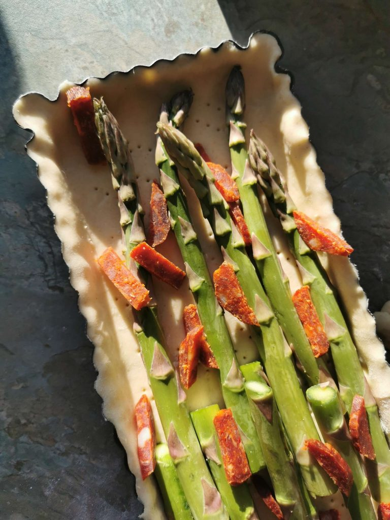 Asparagus and gubbeen chorizo tart - Properfood.ie